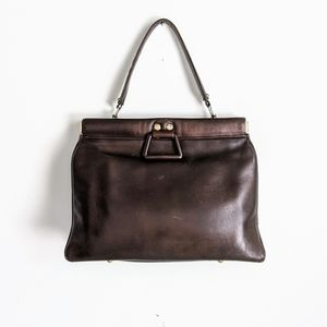 vintage 70's leather doctor style briefcase bag
